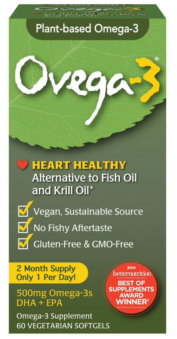 Ovega-3 Vegetarian/Vegan Omega-3, One Per Day, Dietary Supplement, Algal Oil, 500 mg Omegas, 135 mg EPA, 270 mg DHA, 60 Count
