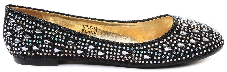 JJF Shoes Anna Womens Nine14 Sparkle Raindrop Rhinestone Glitter Mesh Loafer Ballet Flat Dress Shoes B00PE7TBWW 6.5 B(M) US|Black