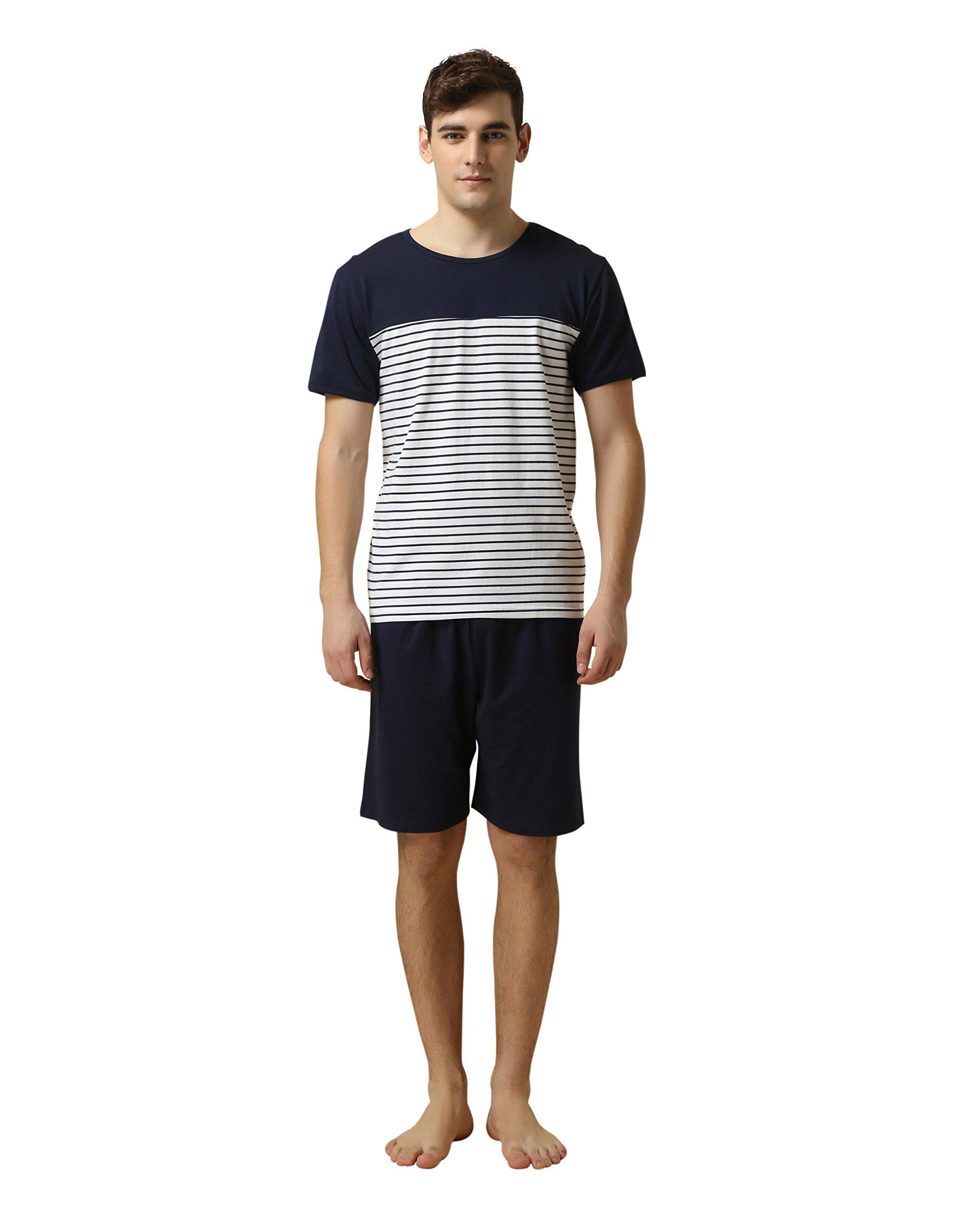 メンズパジャマ 半袖 部屋着 上下セット Tタイプ ルームウェア 寝間着ポケット付 ストライプ 便利服