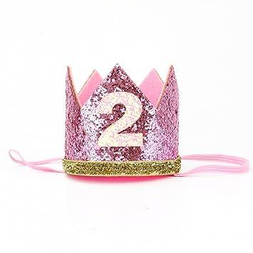 Amazon.com: HUELE Baby Girl - Tiara de 2 cumpleaños, corona ...