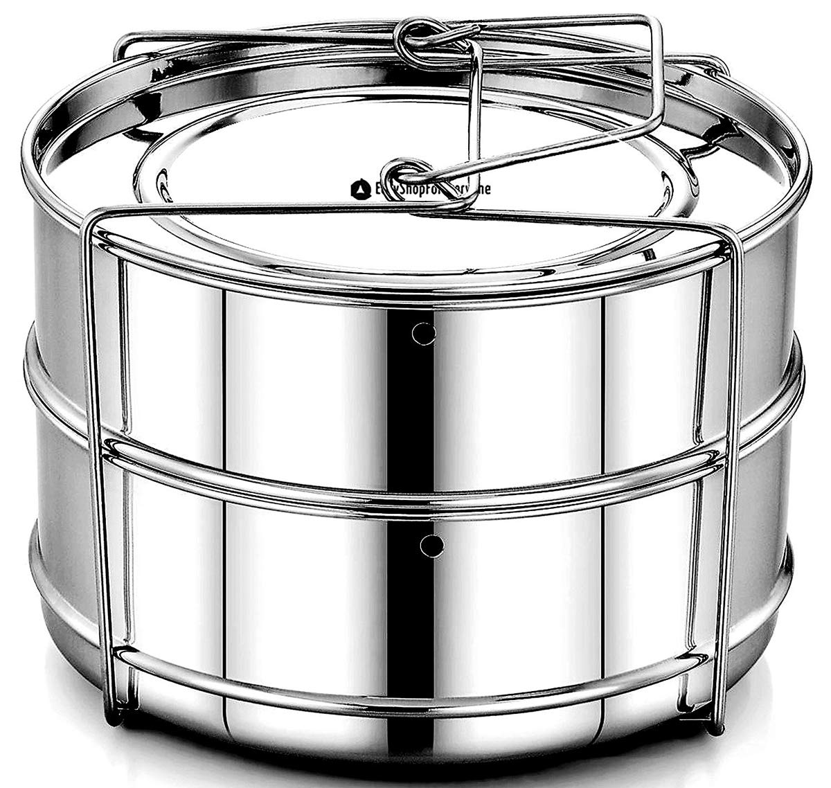 EasyShopForEveryone Stackable Stainless Steel Steamer Insert Pans - Vent Holes to Equalize Steam - Cook Vegetables, Meat, Fish, Rice and more - Fits 5, 6, 8 Quart Instant Pot Pressure Cooker PCIP-2T-KL