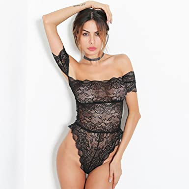 6e330a7c4fe Women Sexy Black Crochet Off Shoulder Lace Perspective Lingerie Short  Sleeves Skinny Bodysuit Underwear  Amazon.co.uk  Clothing