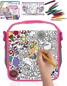 Purple Ladybug Novelty Decora tu Bandolera para Niñas – Cartera Escolar para Pintar con Rotuladores de Colores y Estuche Escolar de Regalo – Divertido Set de Manualidades, Niña: Amazon.es: Juguetes y juegos