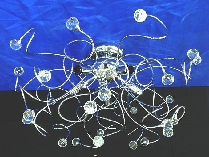 Plafoniere Moderne Con Cristalli : Plafoniera media in cromo lucido con cristalli perenz
