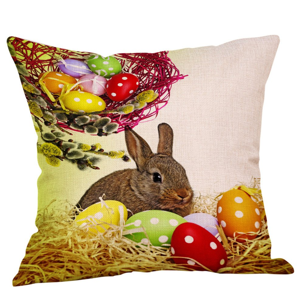 18x18 inches Happy Easter Cute Animal Bunny Rabbit Chick Colored Egg Flower Blessing Gift Cotton Linen Decorative Throw Pillow Cover Cushion Case Decoration (A)