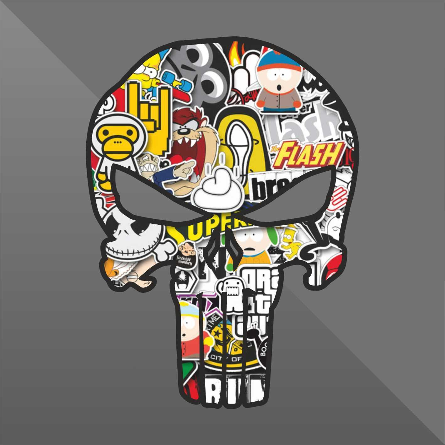 Decal Punisher Teschio Skull Cr/âne Cr/áneo Sch/ädel Sticker Bomb cm 10 Decal Cars Motorcycles Helmet Wall Camper Bike Adesivo Adhesive Autocollant Pegatina Aufkleber