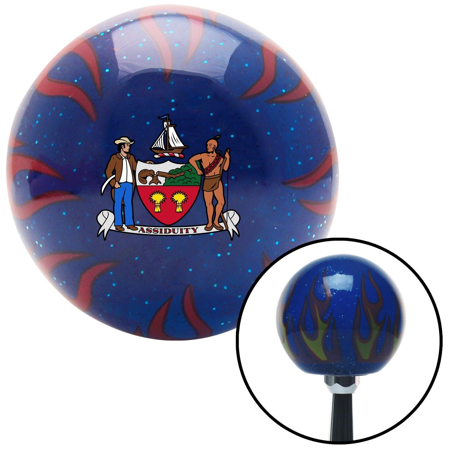 Assiduity Coat of Arms American Shifter 251783 Blue Flame Metal Flake Shift Knob with M16 x 1.5 Insert