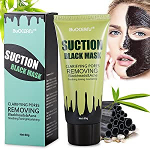 Peel off Masque, Masque antidérapant nettoyage en profondeur, Noir Masque, Blackhead Mask, Blackhead Remover Masque, Peel-Off Masque, BUOCEANS Deep Cleansing Peel Off acné Noir Masque, Bambou Charcoal Deep Cleansing Acne Black Masque Visage, Blackhead anti-points noirs Beauté Soin de la peau Masque, 60g