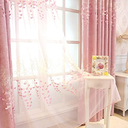 Lovely WINYY Thicken Chenille Curtains Embossed Embroidered Flower Sheer Curtains  Pink Rod Pocket Process For Living Room