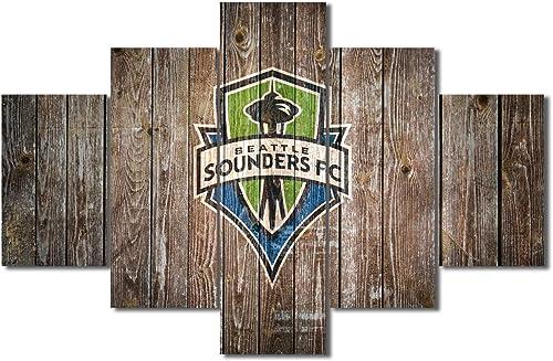 Canvas Wall Art Prints FC Logo Wooden Living Room Decor
