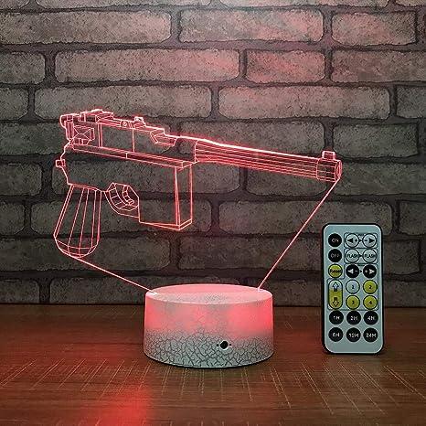 Ilusión 3D Luz de noche LED, pistola 3d 7 colores que ...
