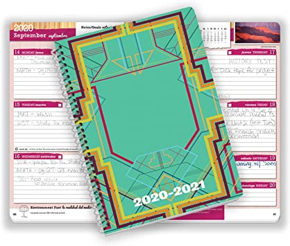 5.5x8.5 Inch Block Style Datebook with Wabash Retro Cover Dated Middle or High School Student Planner 2020-2021 Academic Year