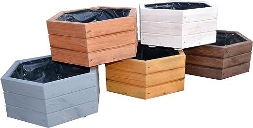 Jardinera de madera para jardín o terraza, ya montada, D5, roble: Amazon.es: Jardín