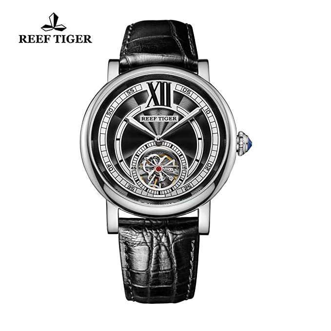 Reef Tiger Luminous Tourbillon Watches For Men Steel Genuine Leather Strap Automatic Watches Rga192 by Reef Tiger