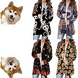 Women's Halloween Long Sleeve Open Front Cardigan Funny Cute Pumpkin Black Cat Ghost Lightweight Coat Plus Size.S-5XL