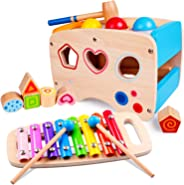 rolimate Hammering Pounding Toys Wooden Educational Toy Xylophone Shape Sorter, Birthday Gift for 1 2 3+ Years Boy Girl Baby
