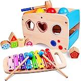 Rolimate Hammering Pounding Toys Wooden Educational Toy Xylophone Shape Sorter, Birthday 1 2 3+ Years Boy Girl Baby…