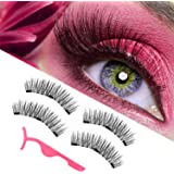 magnetic eyelashes, magnetic lashes, New upgraded triple magnet eyelashes, 3D fiber lashes Natural look, No glue, easy to wear and Reusable (4pcs with applicator)