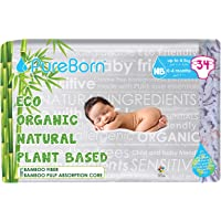 PureBorn Eco Organic Natural Bamboo Plant Based Diapers, Single Pack - 0 - 4.5 kg, 34 Count (05912B)