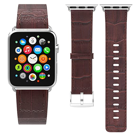 Blue Genuine Leather Crocodile Strap Band For Apple Watch 38mm 40mm 42mm 44mm The Latest Fashion Watches, Parts & Accessories Wristwatch Bands