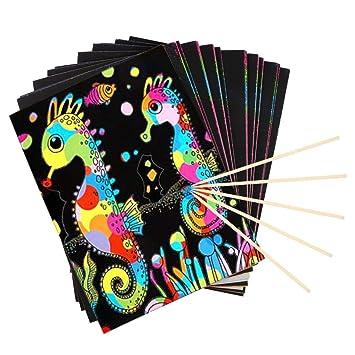 Papel de rayas arcoíris Unime Rainbow Scratch & Sketch Art Papers ...