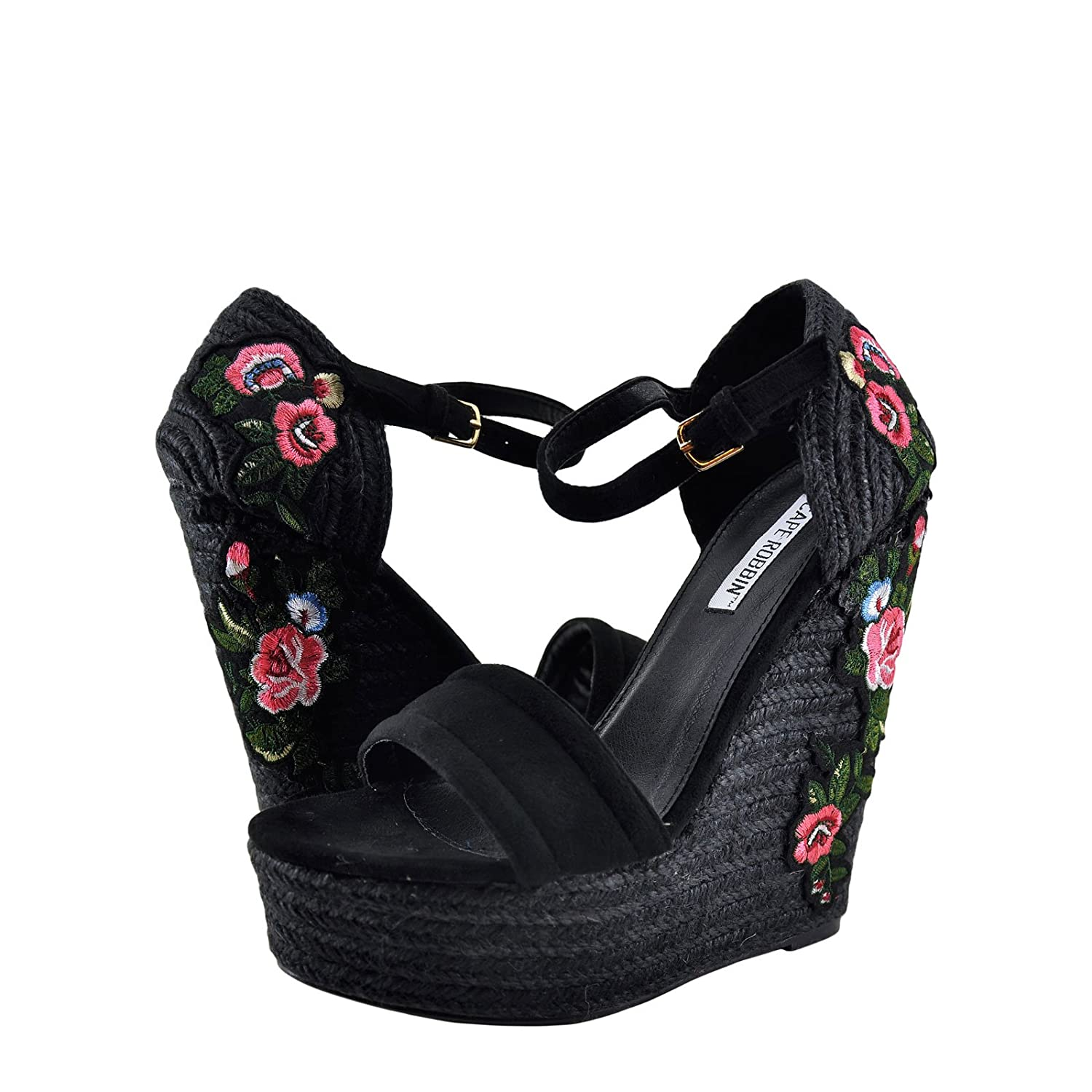 Cape Robbin Zelda-8 Womens Floral Embroidered Straw Wedges B074W7XDN2 6 B(M) US|Black