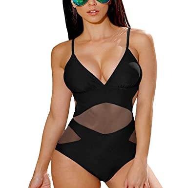 fe076bd6b0d13 One Piece Mesh Swimsuit Classic Strappy V Neck Monokini Swimwear at Amazon  Women's Clothing store: