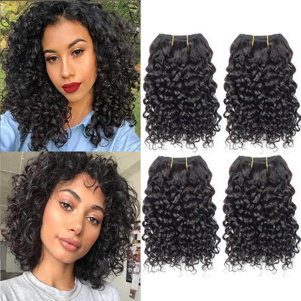 "Selina Brazilian Curly Hair Bundles 4 Bundles Kinky Curly Short Human Hair Brazilian Virgin Human Hair 50 Gram/Bundle (8""8""8""8"", Natural Color)"