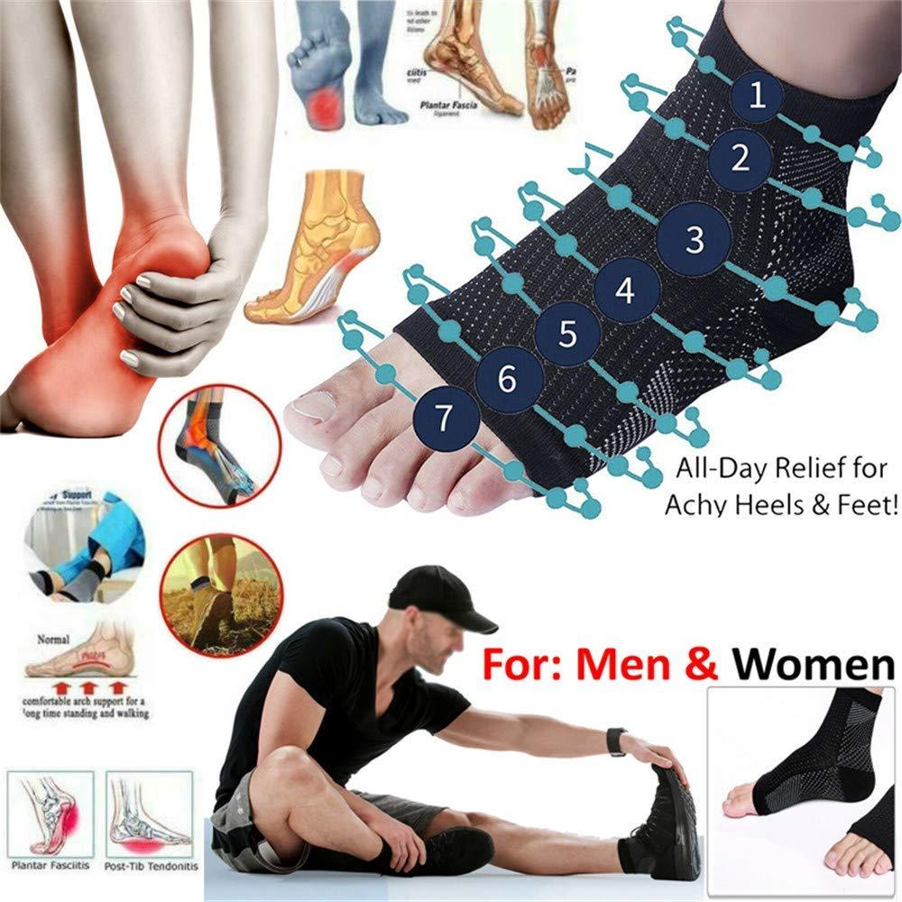 Tianfudedian Jeu de 2 pieds magn/étiques avec support au pied magn/étique Vita-Wear infus/és de cuivre Compression Cheville Chaussettes de soutien pour la fasciite plantaire Fitness Marche