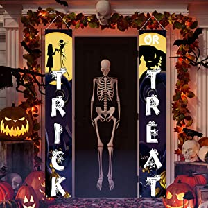 Allenjoy Trick or Treat Porch Signs Hanging Wall Door Banner for Halloween Before Christmas Decoration Polyester Outdoor Indoor 11.8x70.9 Inch Home Decor Event Front Yard Party Supplies 2PCS
