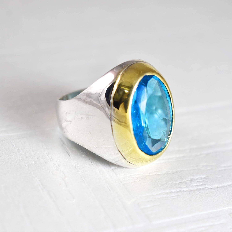 December Birthstone Ring Natural Gemstone Silver Ring for Men/'s Blue Topaz Gemstone Ring for Men/'s 925 Sterling Silver Ring