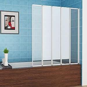 Mampara de ducha plegable de 1200 mm con 5 pliegues y panel de ...