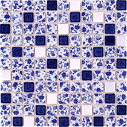 Hominter 11-Sheets Blue and White Backsplahs Tiles, Glazed Porcelain Mosaic Bathroom Wall and Floor Tile, Modern Square Ceramic Swimming Pool Tile ADT33