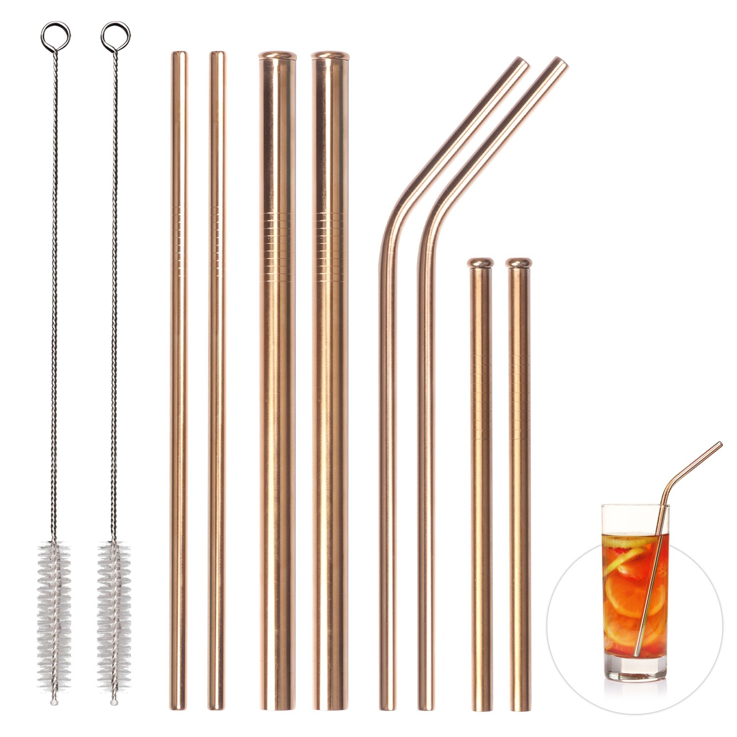 Stainless Steel Reusable Straws, Set of 8, Elitea Metal Drinking Straws for Smoothies Milkshake Yeti Rtic Ozark 30 20 oz Tumblers, Including Wide Short Straight Bent and Cleaning Brush (Rose Gold)