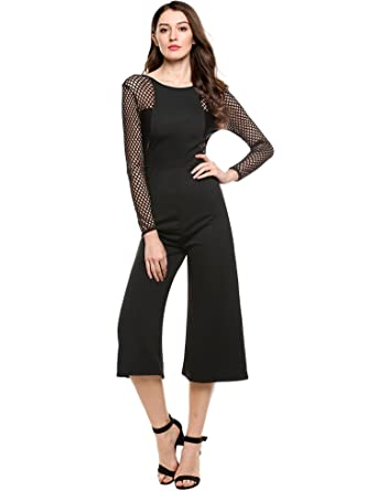 44884151c951 Amazon.com: Meaneor Women's Lace Long Sleeve Summer Romper Jumpsuits  Cocktail Elegant with Belt: Clothing