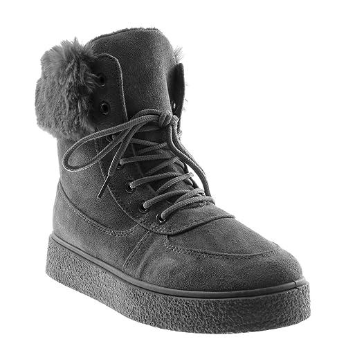 79fa9786ce7bd Angkorly - Zapatillas Moda Botines Plataforma Botas Militares Botas de Nieve  Mujer Piel tacón Plano 3.5 CM  Amazon.es  Zapatos y complementos