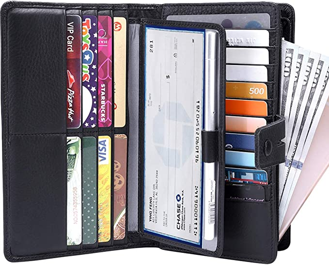 NIB Rita Messi Checkered Trifold RFID Large Capacity Clutch Wallet Organizer