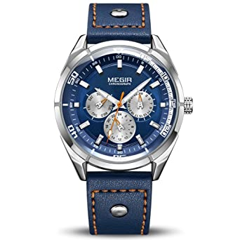 MEGIR Mens Analogue Quartz Luminous Watch with Stylish Casual Blue Leather Strap ML2072GBE-2