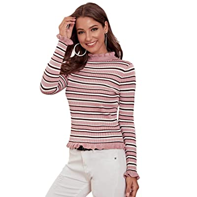 Milumia Women's Casual Striped Ribbed Tee Knit Crop Top at Women's Clothing store