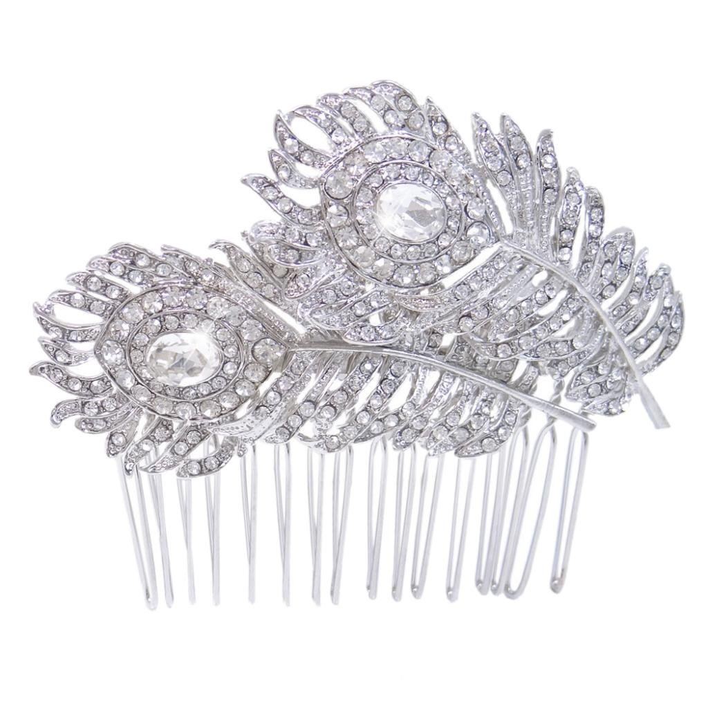 Silver-Tone Bridal Dual Peacock Feather Clear Austrian Crystal Hair Comb A12895-1 Ever Faith