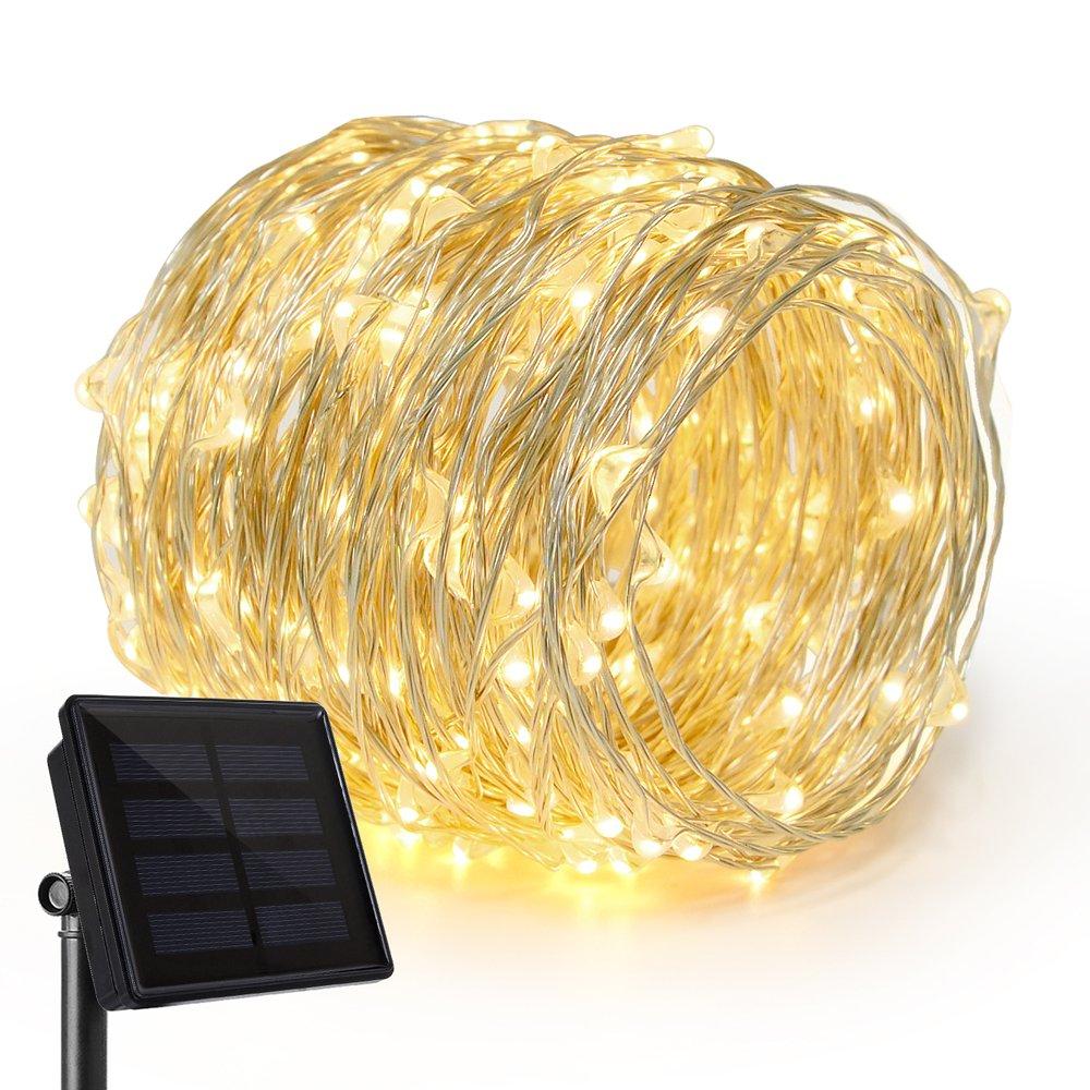Rophie 100 LEDs Solar Lichterketten 39 ft / 12m Solarbetriebene Gartenleuchten Kupferdraht Outdoor Wasserdichte Lichterketten Indoor / Outdoor Dekorative Leuchten für Party - Violett