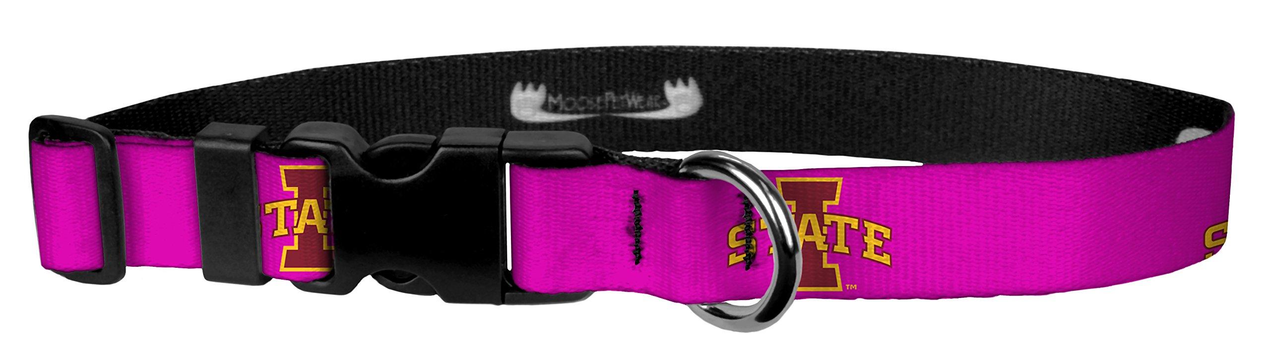 Moose Pet Wear Iowa State Logo on Pink Wear Adjustable Collar, 1''/Large