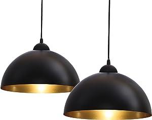 B.K.Licht - Lámparas Colgantes de Techo para Interiores, Requieren Bombilla E27 Led, max. 60 W, 230 V, Negro y Dorado
