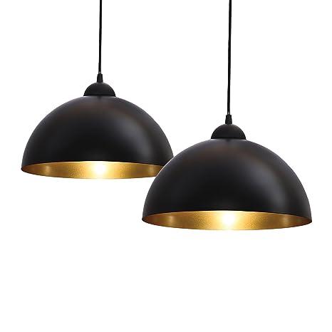 BKLicht Vintage Lámpara de techo I Retro I Colgante I Black&Gold I Kit de 2 unidades I Ø300mm I Casquillo E27 para bombilla convencional o bombilla ...