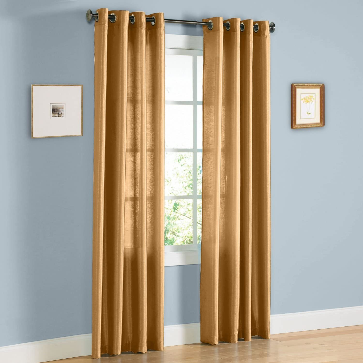 "Gorgeous Home 1 Faux Silk Window Curtain Panel Width 55"" X 63"" Length Solid Gold Includes 8 Bronze Grommets"