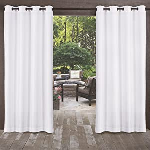Exclusive Home Curtains Biscayne Indoor/Outdoor Two Tone Textured Window Curtain Panel Pair with Grommet Top, 54x96, Winter White, 2 Count