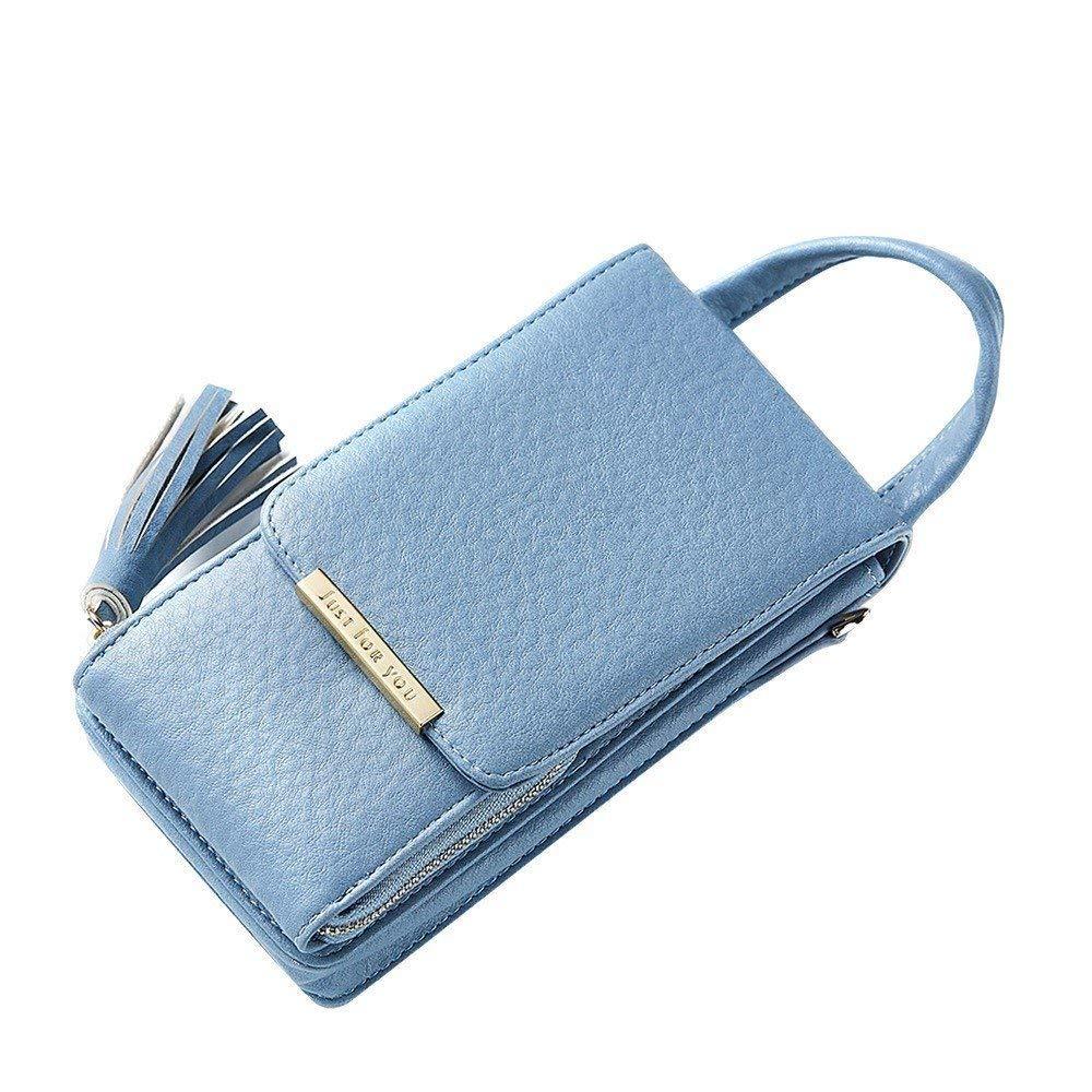 LanDream レディ ウォレット スモール バッグ レディ サッチェル チェーン バッグ レディ ファッション フリンジ付き 携帯電話 ウォレット (色:ブルー) B07NTK4C55