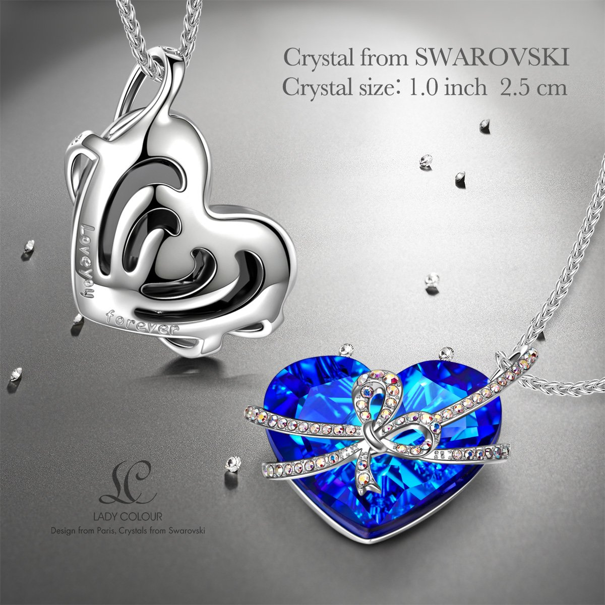 LADY COLOUR Sapphire Heart Pendant Necklace Made with Swarovski Crystals Romantic Present for Her Swarovski Crystal Necklace for Women NAG05786BB