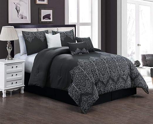 Amazon Com Kinglinen 7 Piece Pati Black Comforter Set Queen Home