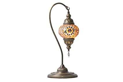 Charmant Handmade Turkish Mosaic Hanging Table Lamp (Egyptian, Arabian, Moroccan)  (Amber Star